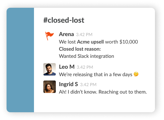 image showing deal notification when closed lost