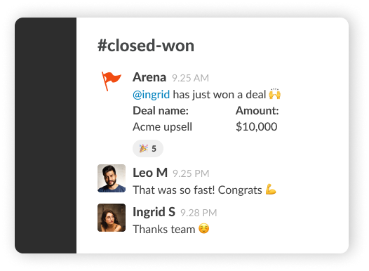 image showing deal notification when closed won