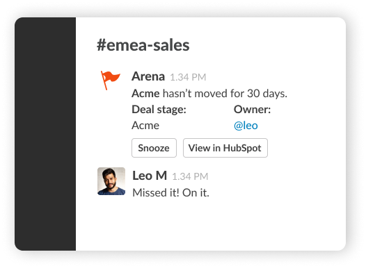 image showing notification to check on a stale deal